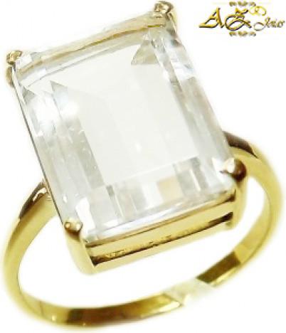 Anel com pedra Cristal em ouro 18K - AN016