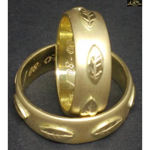 Aliança Folha de Era em ouro 18k - AL199