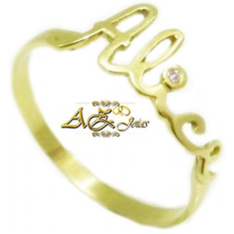 Anel com nome em ouro 18k - AN042