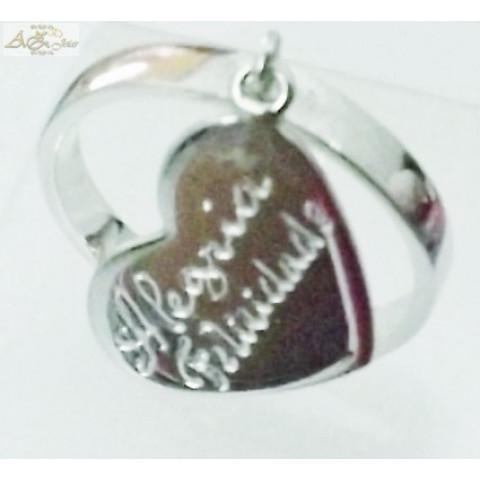 Anel com pingente de coração em ouro branco 18k - AN015