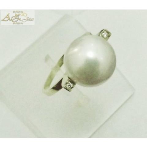 Anel de Pérola em ouro branco 18K - AN013