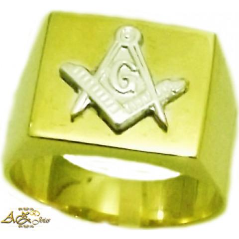 Anel Maçonaria em ouro amarelo 18K - AN020