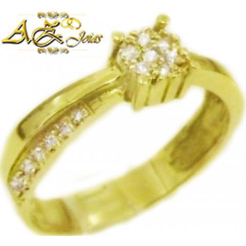 Anel solitário em ouro 18k - AN041