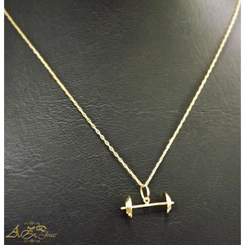 Cordão cadeado com pingente Supino em ouro 18k - CO046
