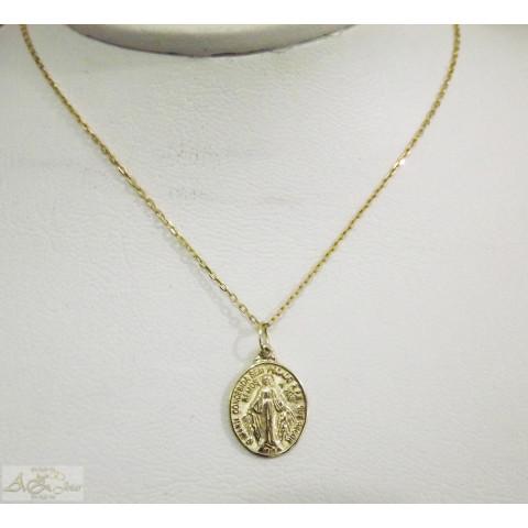 Cordão com medalha Nossa Senhora das Graças em ouro amarelo 18K - CO043