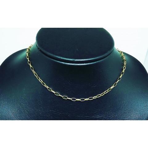 Cordão com Elos Meia Cana Cadeado em Ouro 18K - CO049