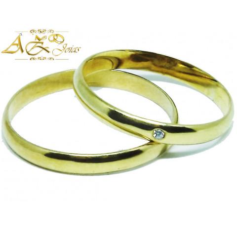 Par de Alianças Meia Cana em Ouro 18K - AL235