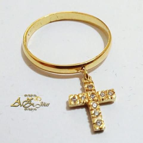 Anel de cruz em Ouro 18k com zirconias - AN050