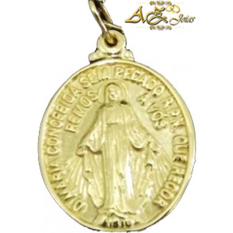 Medalha Nossa Senhora das Graças em ouro amarelo 18K - PG022