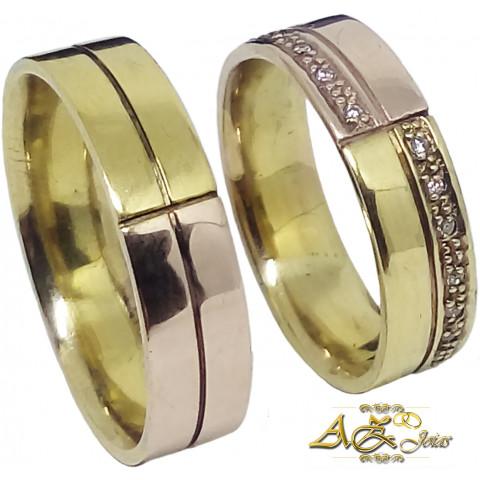 Par de alianças em ouro amarelo e rosê 18k - AL134