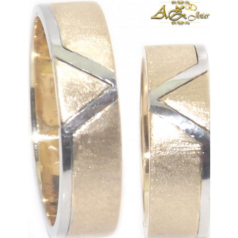 Par de alianças personalizadas em ouro 18K amarelo e branco - AL191