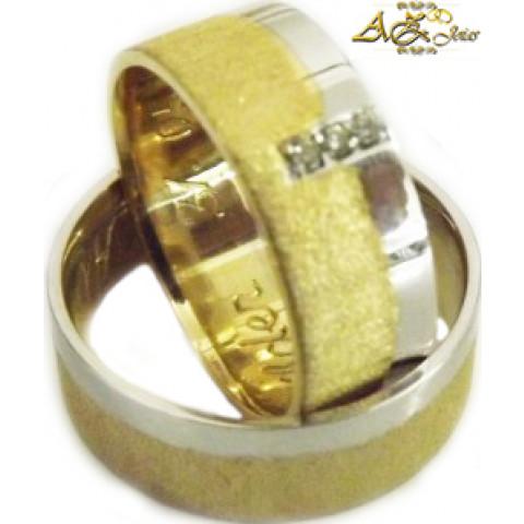 Par de alianças polidas e foscas em ouro amarelo e branco 18k - AL128
