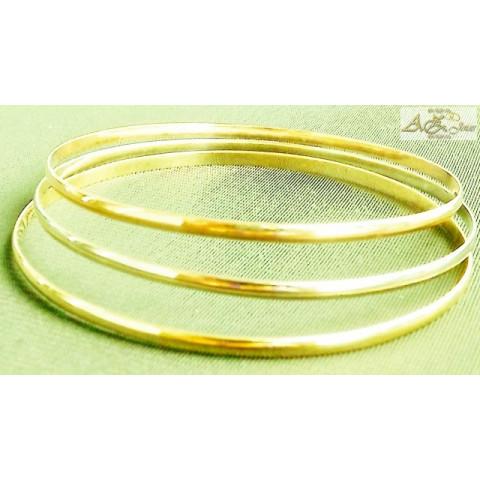 Pulseiras meia cana em ouro branco, amarelo e rosê - PU006