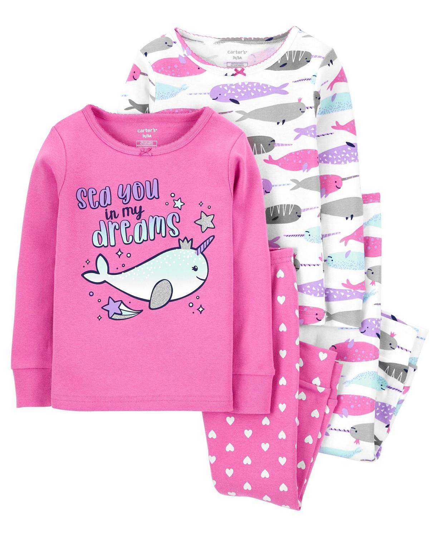 Kit Pijama CARTERS - 4 peças - 4 anos - R$ 159,90 baleia unicornio