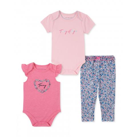 Conjunto 3 pecas Tommy Hilfiger Malha - 18 meses - R$ 149,90 feminino rosa