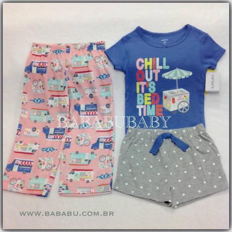 Kit Pijama CARTERS - 3 peças. 2 anos - R$ 89,90