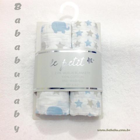 Kit cueiros - 2 pecas - Le Petit - 100% algodão - 90 x 102 cm - R$ 89,90