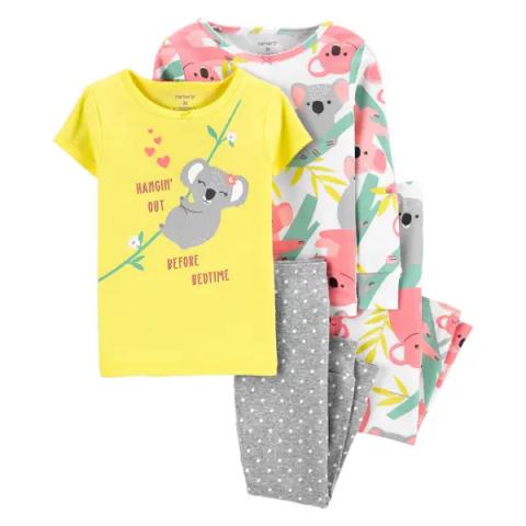 Kit Pijama Carters - 4 peças - 4T - R$ 159,90 koala amarelo