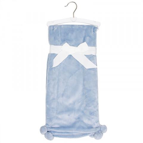 Manta Importada Azul Pompom - 1.02x89cm - R$ 99,90 - Cozy Baby