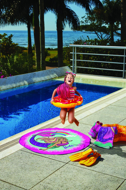 Toalha de Praia Redonda Aveludada Estampada Barbie Reinos Magicos-Lepper