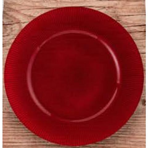 Sousplat Vidro Colorato Circular Vermelho