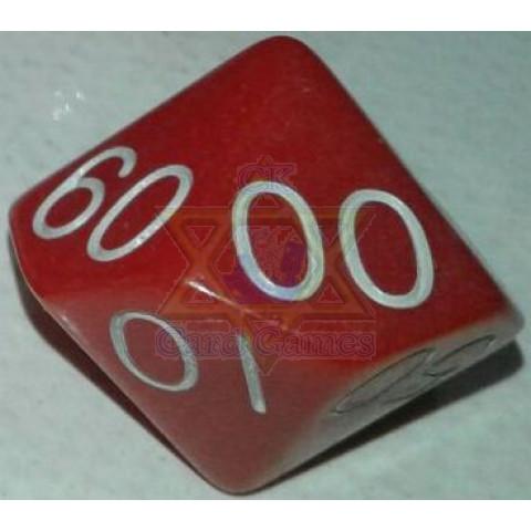 Dado D-100 22mm Vermelha com números Branca