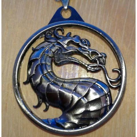 Logo Mortal Kombat - Titânio - Pingente
