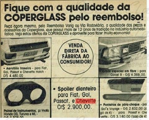 AEROFOLIO TAMPA PORTA MALA COPERGLASS FIAT 147 DE ÉPOCA