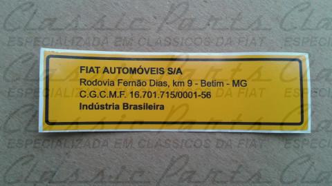 EMBLEMA ADESIVO FIAT AUTOMOVEIS S/A CLASSICO