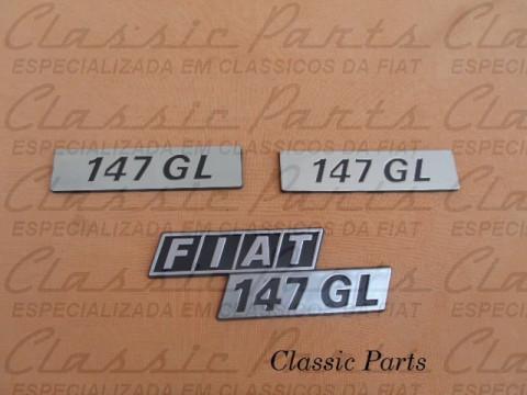 KIT (3 PÇS) EMBLEMAS  FIAT 147 GL