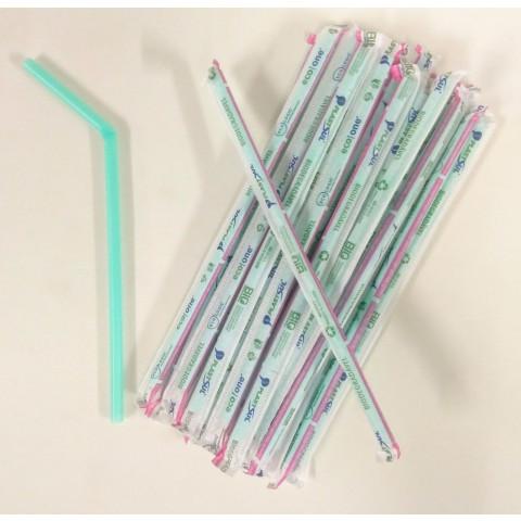 Canudo Bio Flexivel,dobrável, 6mmx20cm, sache de papel - c/500un Biodegradável, Sustentável.