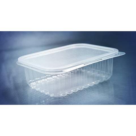 Marmita Descartável 500ml Retangular,Transparente, Microondas e Freezer c/12un