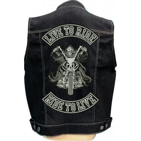 Colete de Jeans Bordado Caveira Morte na Moto