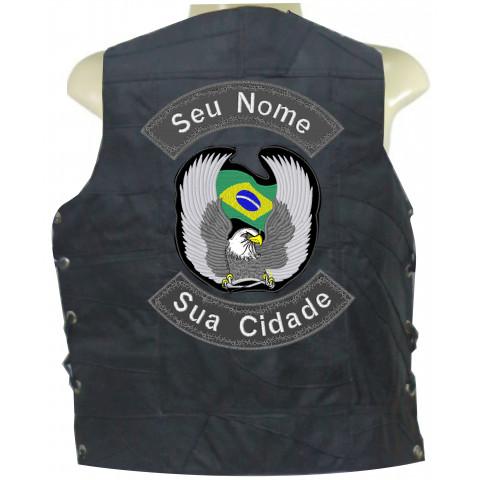 COLETE DE RETALHO DE COURO - ÁGUIA BANDEIRA  BRASIL CINZA-Personalizado com seu Nome