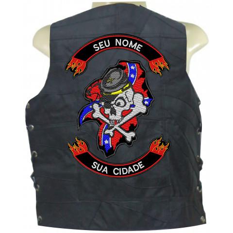 Colete de Retalho de Couro-Caveira  Confederados 2-Personalizado com seu Nome