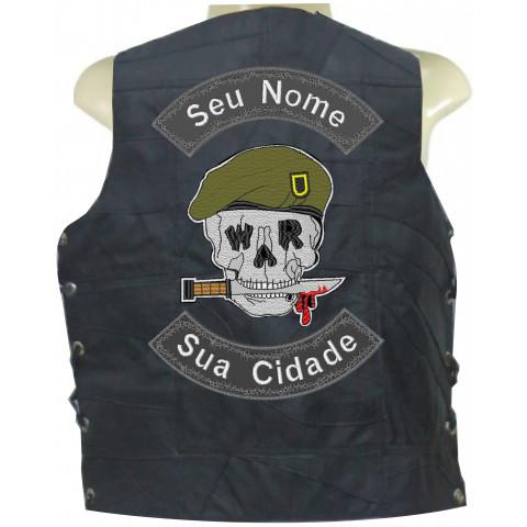 COLETE DE RETALHO DE COURO - CAVEIRA WAR -Personalizado com seu Nome