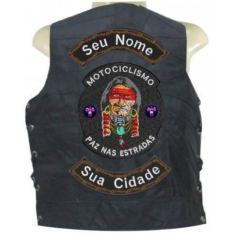 COLETE DE RETALHO DE COURO - ÍNDIO PAZ NAS ESTRADAS -Personalizado com seu Nome