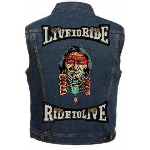 Colete de Jeans Bordado Live To Ride Indio 1