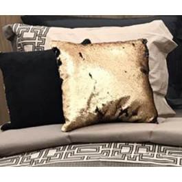 Almofada Paete Muda De Cor 43X43 Dourada /Preta
