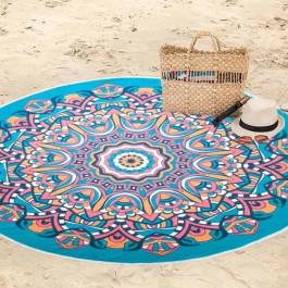 Toalha de Praia Aveludada Redonda Zen Turquesa 75x150 Cm