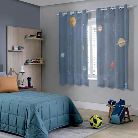 Cortina Rústica Kids 260x170 Cm Sistema Solar