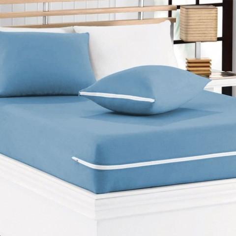 Capa de Colchão Casal Sonhos Cardada com Zíper Azul