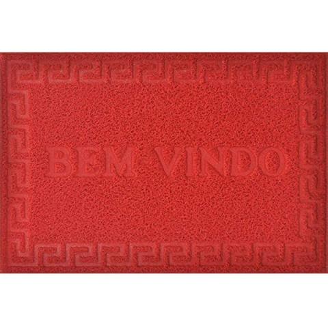 Tapete Porta Vinyl Bem-vindo 40x60 Cm Vermelho