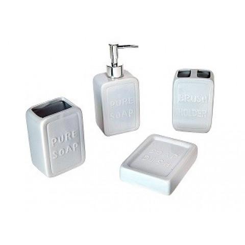 Jogo Para Banheiro Com 4 Peças De Cerâmica Grey