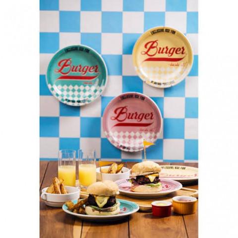 Prato Burger De Cerâmica 26 Cm