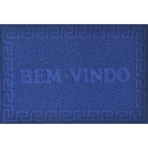 Tapete Porta Vinyl Bem-vindo 40x60 Cm Azul Royal