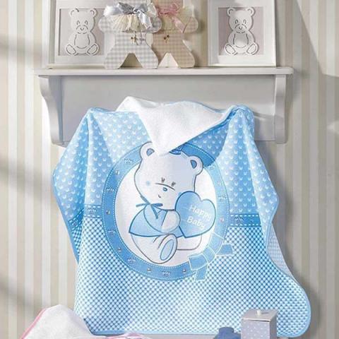 Toalha de Banho com Capuz Infantil 90x70 Cm Azul