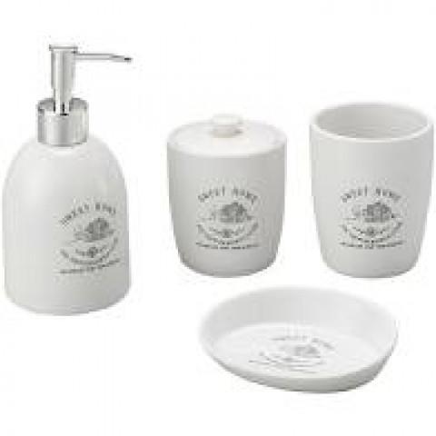 Kit Para Banheiro De Cerâmica Com 4 Peças