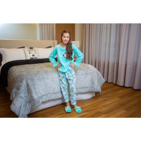 Pijama Flanel Bordado Kids Daju Pinguim 9 a 10 Anos
