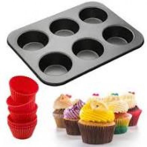 Forma Para 6 Cupcakes E 6 Forminhas De Silicone